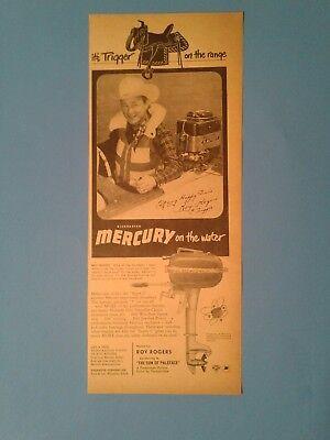 1952 Roy Rogers Western Movie Star Mercury Out Board Boat Motors Memorabilia Ad
