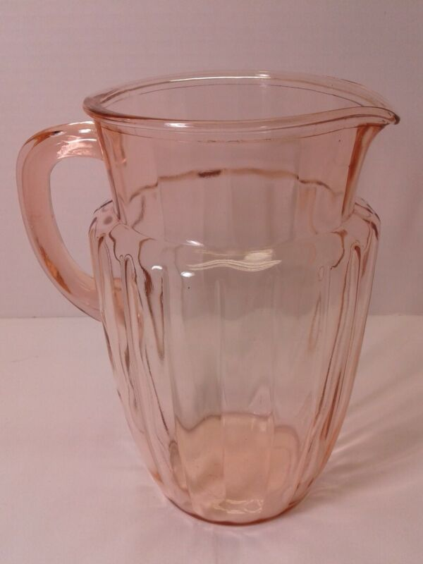 Hocking Pillar Optic Pink Pitcher