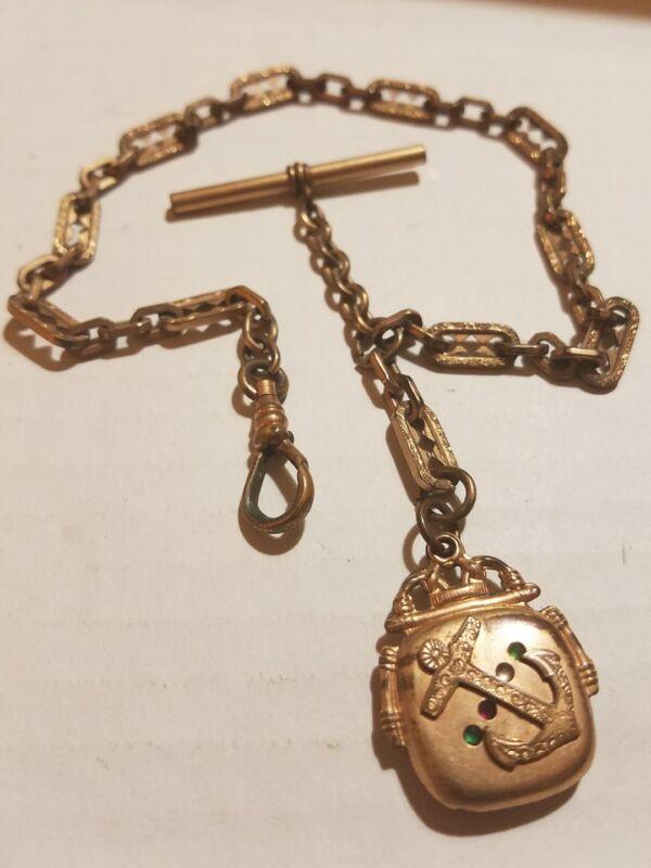 Antique Nautical ANCHOR & RHINESTONE Hollow PENDANT Pocket Watch FOB