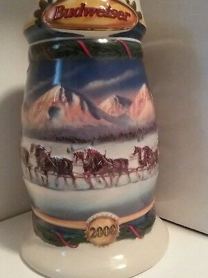 2000 Budweiser Stein Clydesdales Horses Holiday In The Mountains Christmas Snow