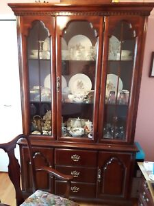 mahogany DINING SET/ table, China cabinet + 4 chairs