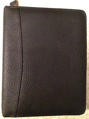 Classic Franklin Planner Black Top Grain Leather Zip Binder 7 Ring