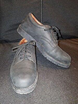 NUNN BUSH *Mens 7 Med* Matte Black Leather Rugged Laced WORK SHOE OXFORDS