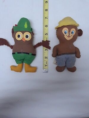 VINTAGE KNICKERBOCKER OFFICIAL WOODSY OWL & SMOKEY BEAR TOYS - AS IS - JOB LOT