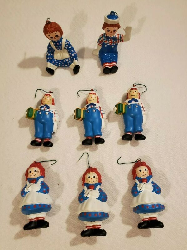 """Vintage 1992  Raggedy Ann & Andy 4"""" Plastic Holiday Ornaments Mcmillan Lot of 8"""