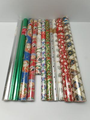 Christmas Foil Wrapping Paper - Christmas Wrapping Paper Rolls Lot 11 Snowman Tree Santa Foil Hanukkah Candle