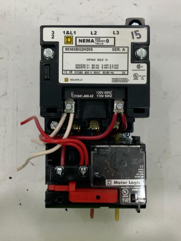 Square D 8536SBG2H20S Nema Motor Starter w/ 9065SS020 Motor Logic Relay