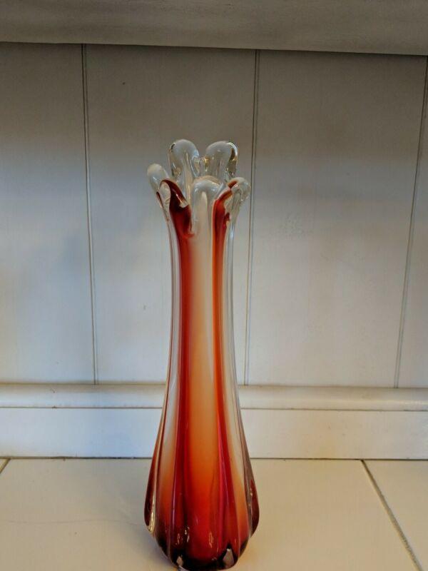 Vintage Stretch Art Glass Red Green Swung Bud Vase Mid Century Modern Decor Rare