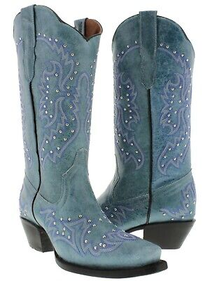 Womens Turquoise Western Cowgirl Boots Silver Studs Embroidery Snip Toe (Turquoise Cowboy Boots)