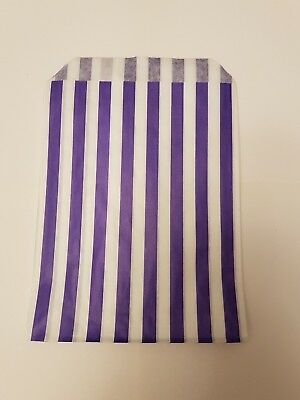 100 paper purple and white candy stripe sweet bag sweet buffet favour bags gift - Purple Candy Buffet