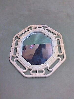 White Faux Bamboo Home Interiors Homco Octagonal Wall Mirror 2144 USA