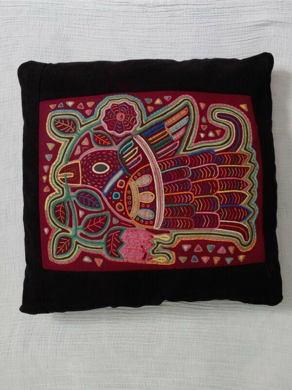 Vintage  Kuna Indian Mola Textile Art Folk Intricate Hand-Stitched Throw Pillow
