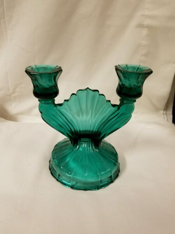 Jeannette Ultramarine Swirl Double Sconce Teal Depression Glass Candle Holder