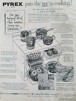 1954 Pyrex percolator double boiler pipe late roaster teapot pan cookware ad