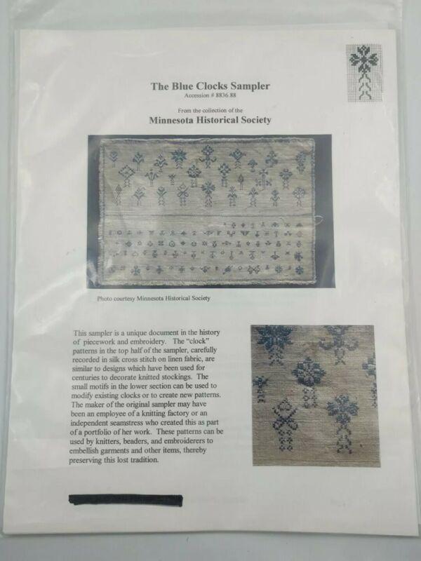 Blue Clocks Sampler Cross Stitch Embroidery Pattern Minnesota Historical Society