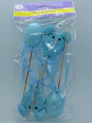 Easter Spring Foam Blue Glitter Rabbits & Eggs Decoration Party Supplies 4PCS