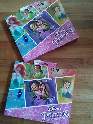 24 PAIR KIDS DISNEY PRINCESS 12 DAYS OF SOCKS CHRISTMAS ADVENT CALENDAR Sz 3-10