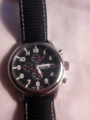 CROTON Chronomaster  Men's Stainless Steel Wrist Watch W/ Black  Leather Band