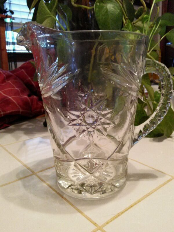 Vintage WATER PITCHER ANCHOR HOCKING PRESCUT Star of David EAPC I6A