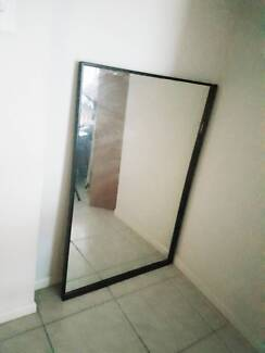 large quality brown wood framed mirror with wooden backing - Wood Framed Mirror