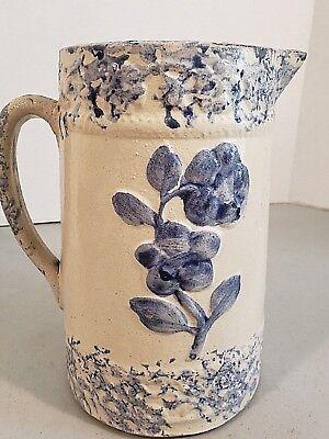 Blue White Stoneware - ANTIQUE BLUE AND WHITE STONEWARE PITCHER W BLUE FLOWER & SPONGEWARE BANDS