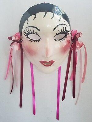 "Vintage Artiist Signed Mardi Gras New Orleans Wall Mask Decor  7"" Mint condition"