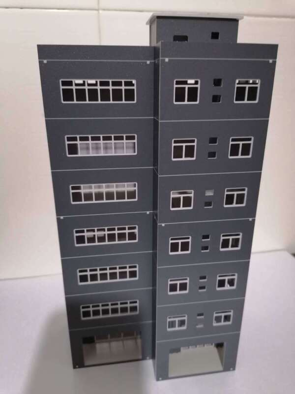 DIY Train Railway Modern Tall Business Building Office HO OO Scale Models Gray