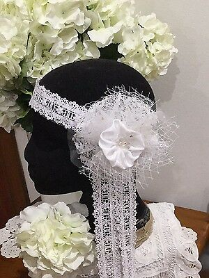 Handmade Boho White Bridal Lace Headpiece Exclusive Design Gatsby,birdcage Net