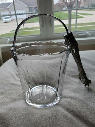 Vintage Depression Glass Cambridge Decagon Ice Bucket with Tongs, Hammered Bale