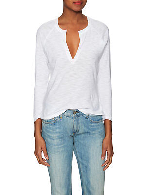 New! James Perse Open-Henley Long-Sleeve Tee in White Women's Size: Small