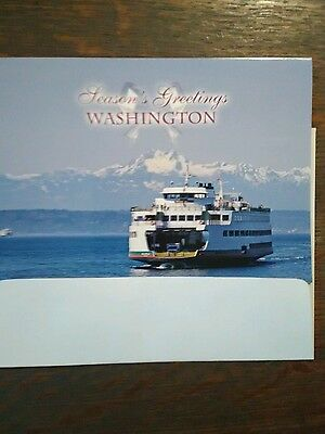 SEASON'S GREETING CARDS FROM OUR WASHINGTON STATE FERRIES SET OF 2 SEATTLE WA ()