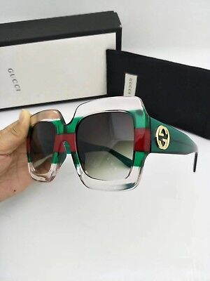 b8ddb8a9aa589 New Authentic Gucci Sunglasses GG178S Women s Transparent Green Oversized  Square
