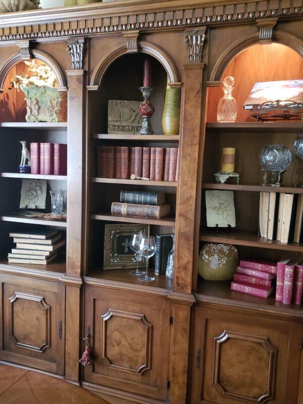 Large, Ornate Burled Wood Custom Bookcase/Open Library Style