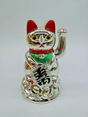 "Feng Shui BECKONING SILVER CAT Wealth Lucky Waving Kitty Maneki Neko 4.5"" US"