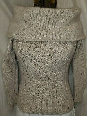 Express 100% Cashmere Chunky Cowl Neck Cable Knit Sweater Sz Small ~ Excellent Cable Cowl Neck Sweater