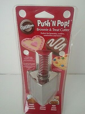 Wilton Heart Shaped Brownie, Treat, Sandwich & Cake Cutter - Push 'N Pop! - NIB