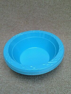 Light Blue Plastic Bowls (24 x plastic disposible light blue bowl 17cm / 12oz)