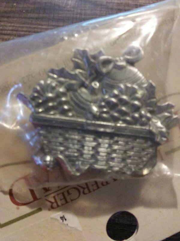RARE Longaberger Christmas Basket Pewter Magnet ~ Pine Cones Ornaments