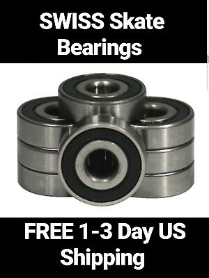 8-Pack SWISS Skateboard Bearings, longboard roller wheel skate inline abec 7 9