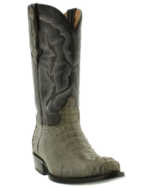 Mens, Gray, Real, Crocodile, Alligator, J, Toe, Cowboy, Leather, Boots, Western, Rodeo