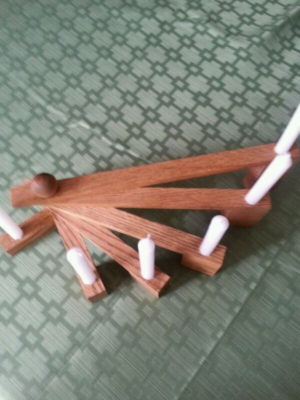 """Tiered Candlestick holder - Stained wood 12"""" W x 4"""" H for 6 - 4"""" vigil candles"""