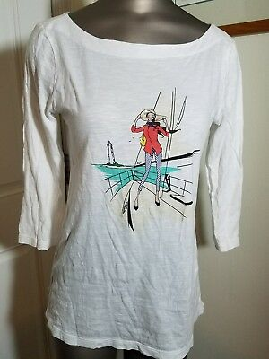 ANN TAYLOR LOFT WOMENS WHITE FREE SAILING TOP M MEDIUM SHIRT
