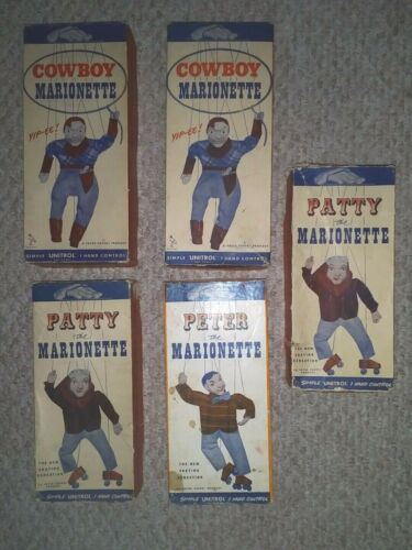 5 PETER PUPPET MARIONETTE BOXES COWBOY / PETER / PATTY
