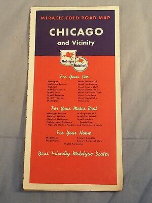 Vintage MOBILGAS CHICAGO Vicinity ILLINOIS CITY STREET Oil Gas Highway Road Map