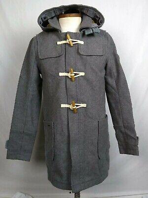 Genuine Superdry Peacoat Mens sz L Classic Wool Duffle Coat Jacket Limited Gray