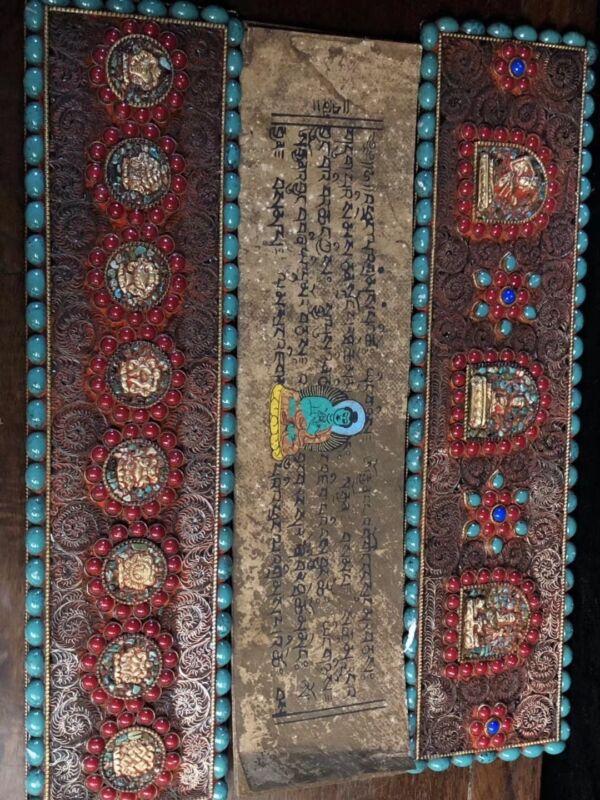 Chinese Antique Tibetan Buddhist hand-set gemstone scriptures A