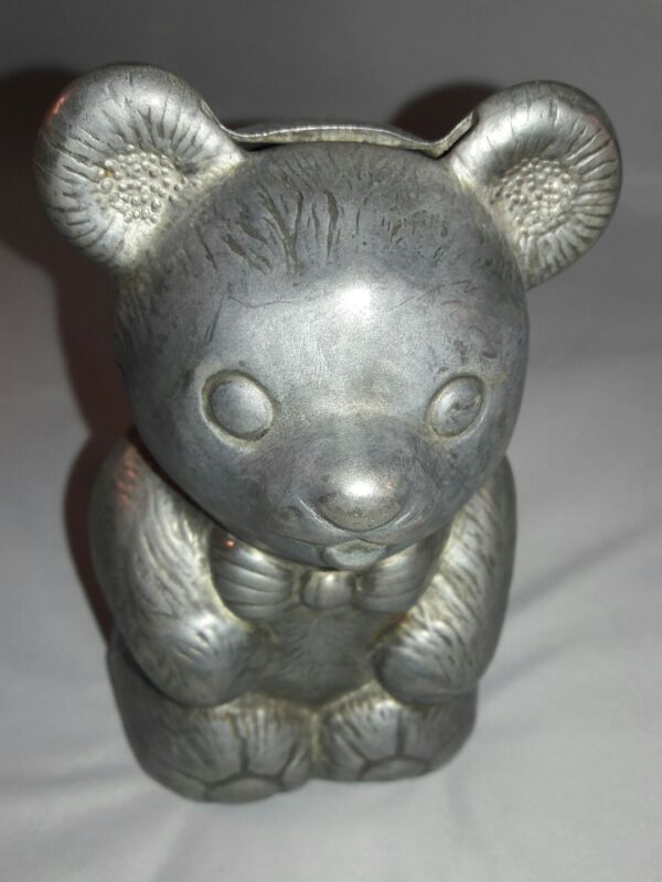 Vintage EP Zinc Italy Silverplated Teddy Bear Bank