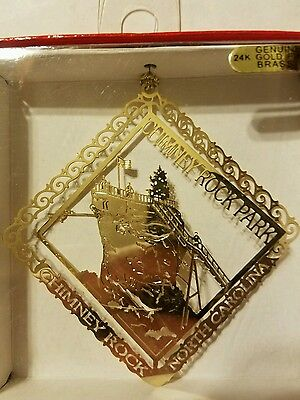 Chimney Rock Park North Carolina  24k gold finish Brass Ornament