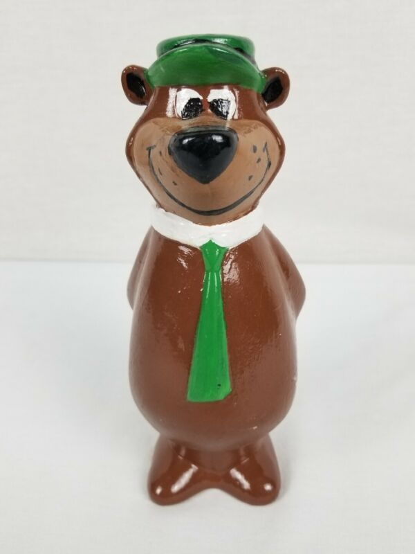 Hanna Barbera Yogi Bear Painted Piggy Coin Bank Vintage Ceramic Niagara 6 3/4""