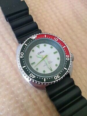 Vintage Swiss Oris Mod Dial Heavy Exhibition Back Diver Style Watch 42mm